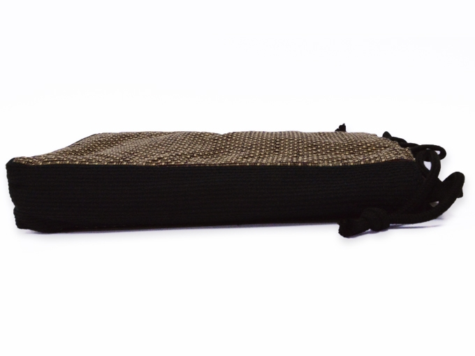 ドビー刺子織信玄袋 茶 側面