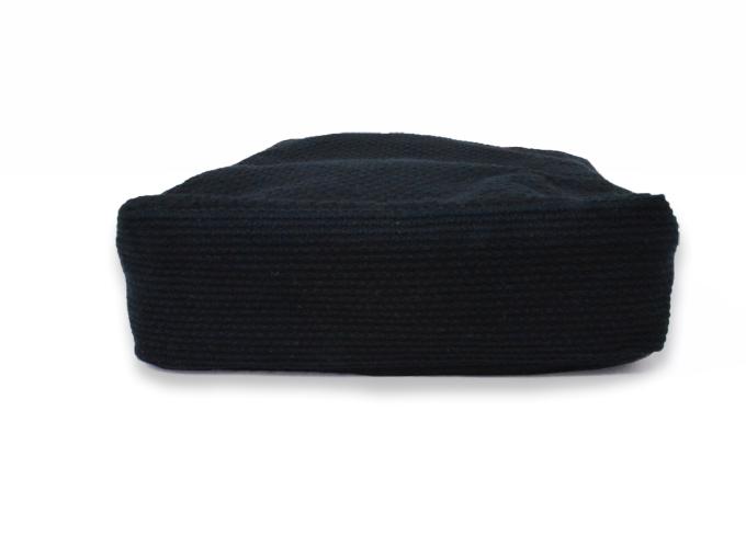 ドビー刺子織信玄袋 ブラック(黒) 底