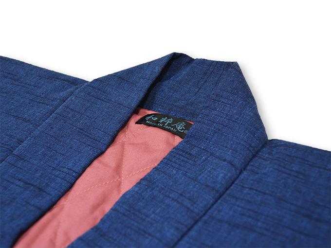 刺子織作務衣式綿入れ袢天 上着衿部分