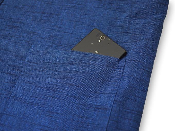 刺子織作務衣式綿入れ袢天 紐部分