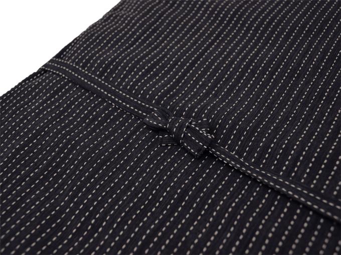 日本製 作務衣式綿入れ袢天 黒(ブラック) 上着紐部分