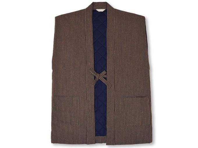 刺子織袖無し綿入れ袢天-陣羽織 茶 衿部分