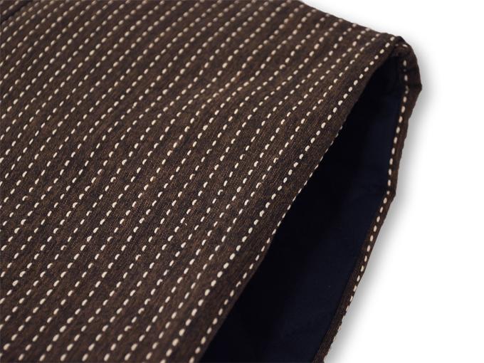刺子織袖無し綿入れ袢天-陣羽織 茶 肩部分