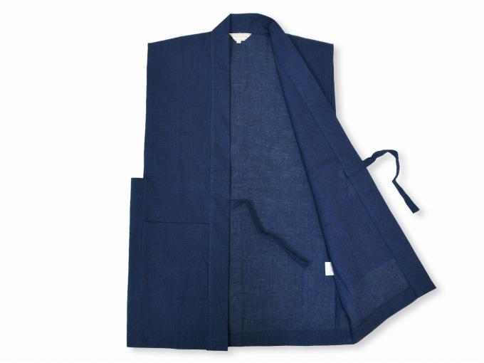 綿麻しじら夏向き作務衣羽織 濃紺見開き