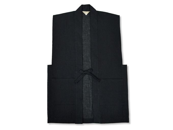 綿麻しじら夏向き作務衣羽織 黒