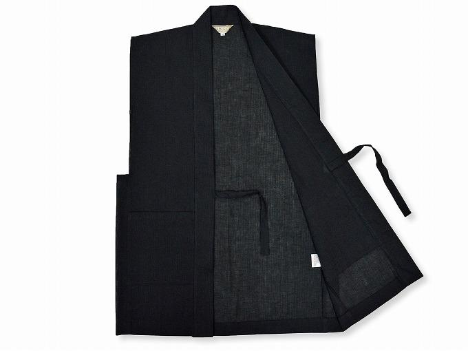 綿麻しじら夏向き作務衣羽織 黒見開き