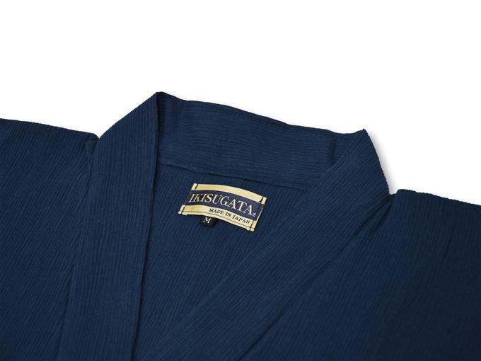 綿楊柳・ゴム袖作務衣 濃紺上着衿部分