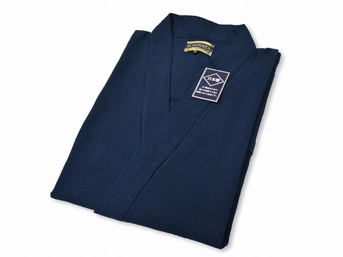 綿楊柳・ゴム袖作務衣 濃紺畳んだ状態