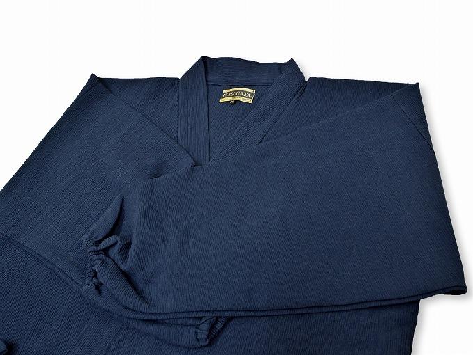 綿楊柳・ゴム袖作務衣 濃紺上着紐部分