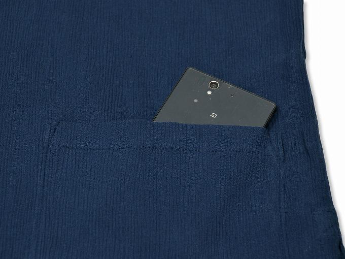 綿楊柳・ゴム袖作務衣 濃紺上着