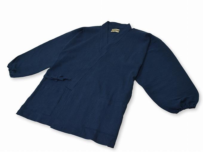 綿楊柳・ゴム袖作務衣 濃紺上着ポケット部分