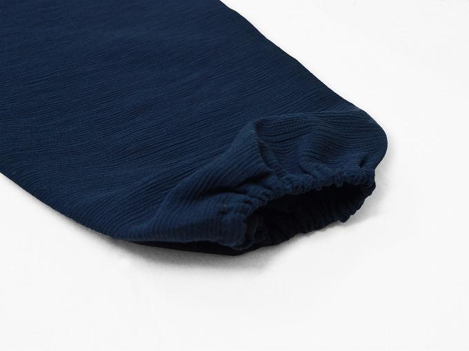 綿楊柳・ゴム袖作務衣 濃紺上着袖