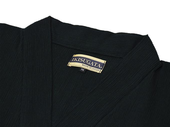 綿楊柳・ゴム袖作務衣 黒(ブラック)上着衿部分