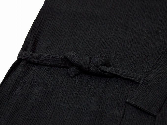 綿楊柳・ゴム袖作務衣 黒(ブラック)上着紐部分