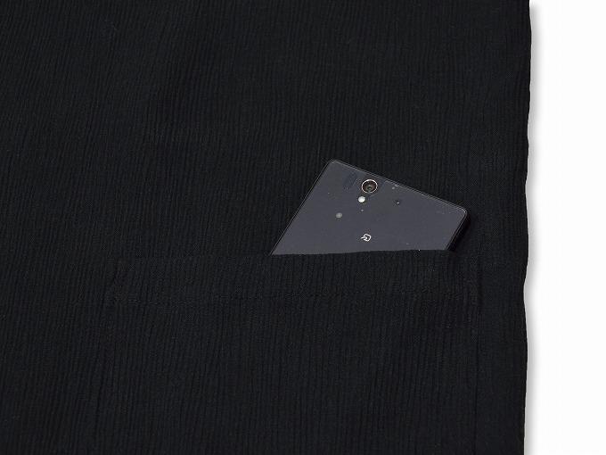 綿楊柳・ゴム袖作務衣 黒(ブラック)上着