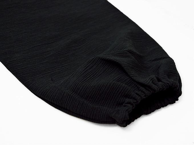 綿楊柳・ゴム袖作務衣 黒(ブラック)上着袖