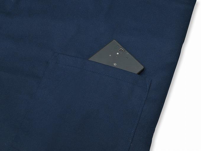 綿ポリ綾織作務衣 濃紺 上着ポケット部分