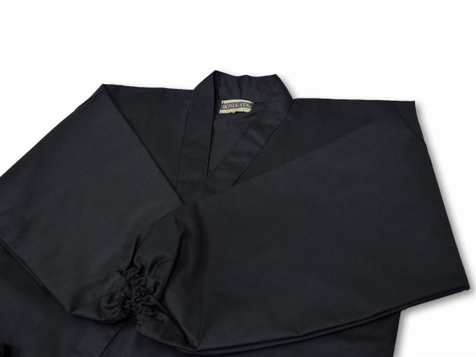 綿ポリ綾織作務衣 黒(ブラック)畳んだ状態