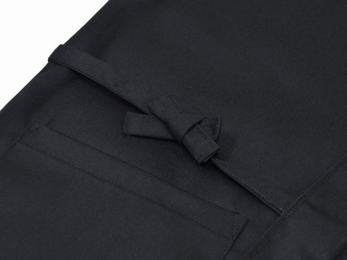 綿ポリ綾織作務衣 黒(ブラック)上着紐部分