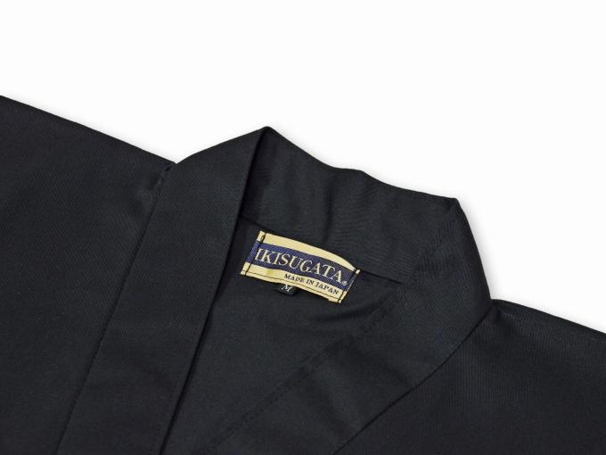 綿ポリ綾織作務衣 黒(ブラック) 上着衿部分