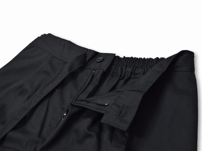 綿ポリ綾織作務衣 黒(ブラック) ズボンウエスト部分