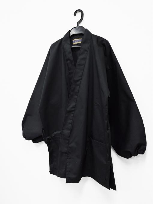 綿ポリ綾織作務衣 黒(ブラック) 上着ハンガー