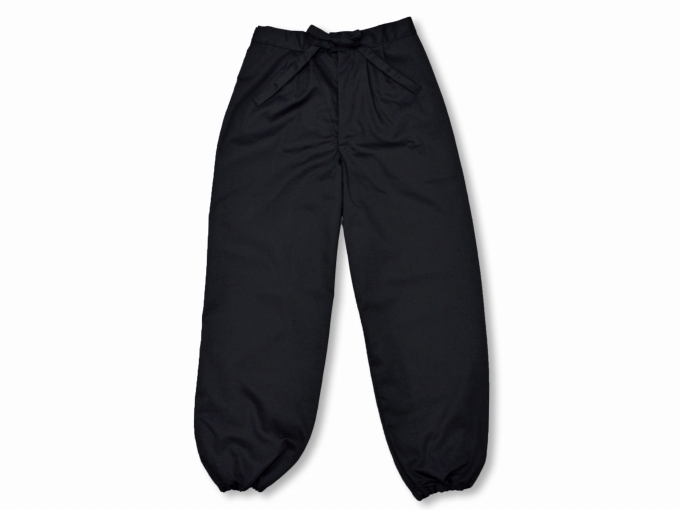 綿ポリ綾織作務衣 黒(ブラック) ズボン