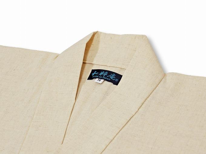高機能麻綿ロールアップ作務衣 No.1 生成り 上着衿部分