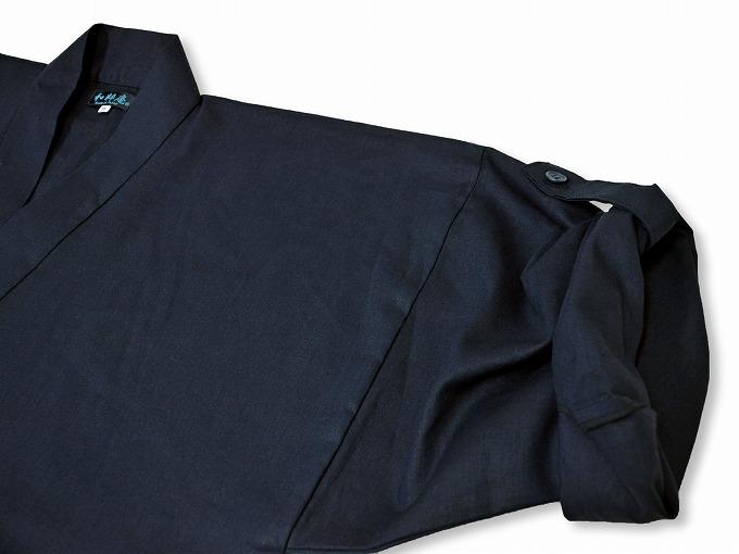 高機能麻綿ロールアップ作務衣 No.2 濃紺 ロールアップ袖