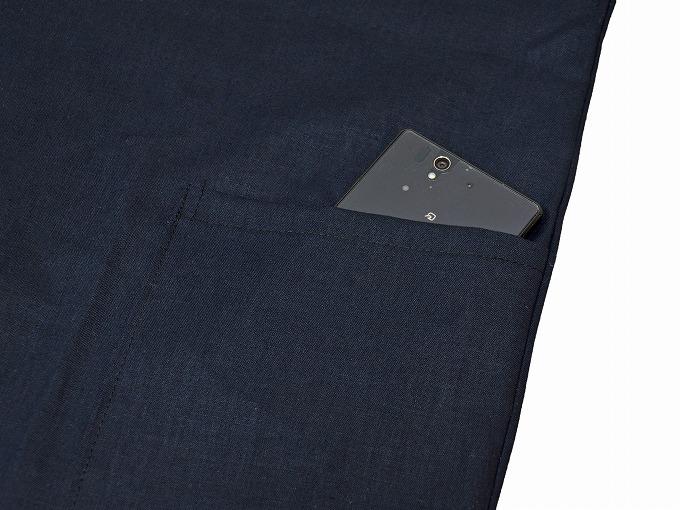 高機能麻綿ロールアップ作務衣 No.2 濃紺 上着ポケット