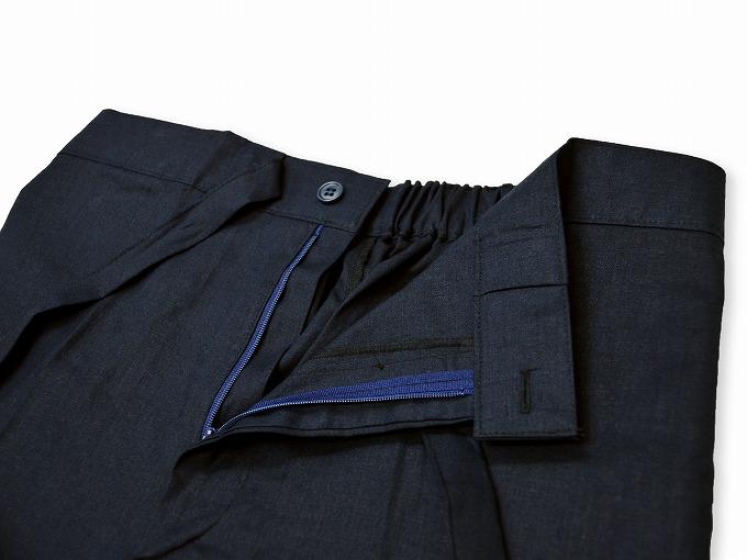 高機能麻綿ロールアップ作務衣 No.2 濃紺 ズボンウエスト