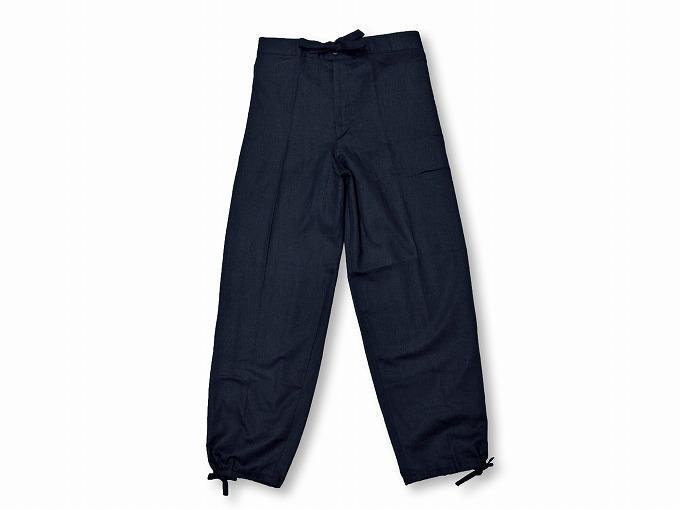 高機能麻綿ロールアップ作務衣 No.2 濃紺 ズボン