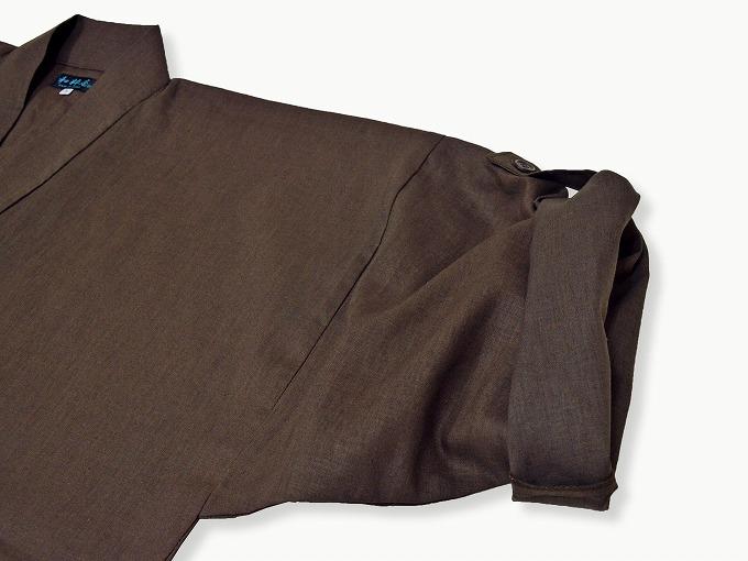 高機能麻綿ロールアップ作務衣 No.3 茶 ロールアップ袖