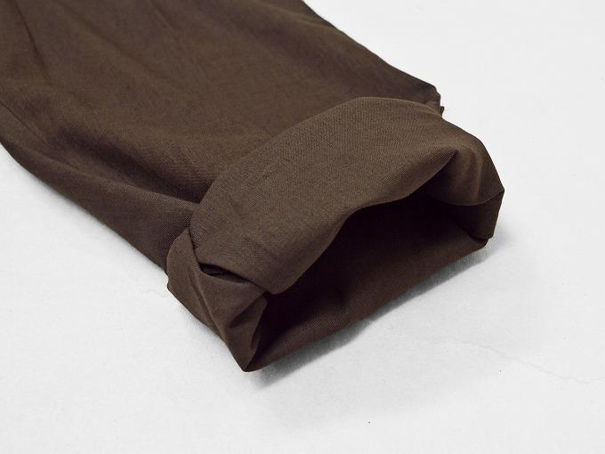 高機能麻綿ロールアップ作務衣 No.3 茶 ロールアップ裾