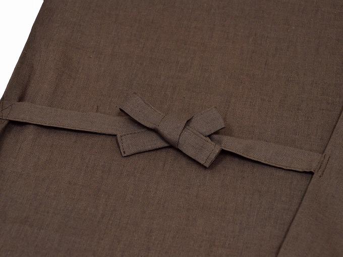 高機能麻綿ロールアップ作務衣 No.3 茶 上着紐
