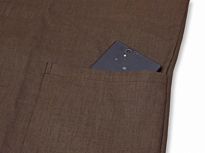 高機能麻綿ロールアップ作務衣 No.3 茶 上着ポケット