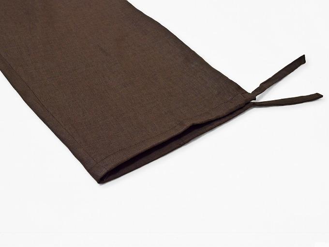 高機能麻綿ロールアップ作務衣 No.3 茶 ズボン裾