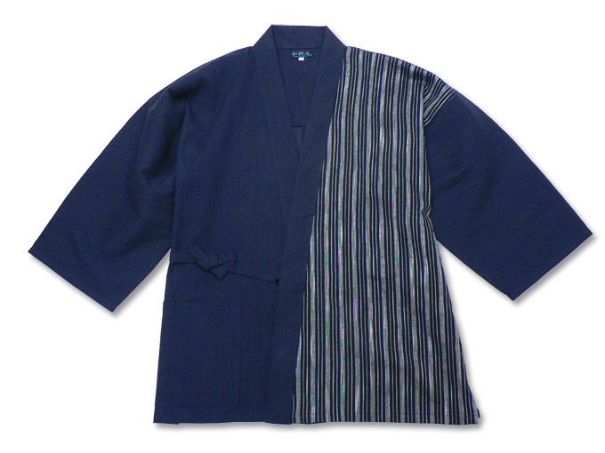 綿麻楊柳デザイン作務衣 濃紺