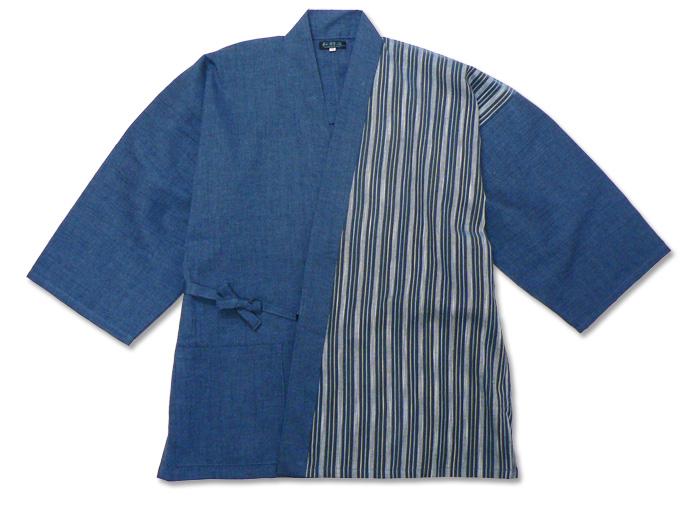 綿麻楊柳デザイン作務衣 中紺
