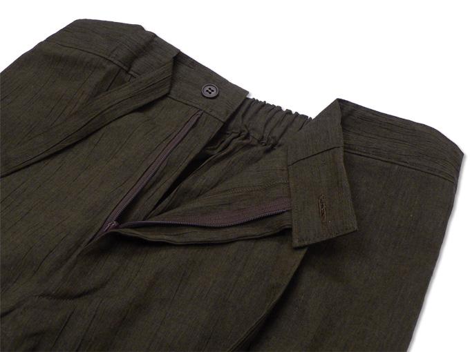 綿麻楊柳デザイン作務衣 茶(ブラウン)