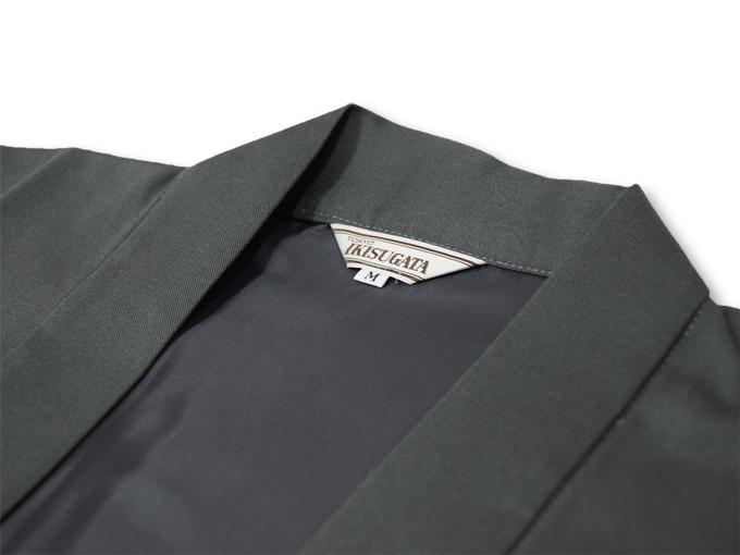 作務衣用羽織(綾織)グレー 衿部分
