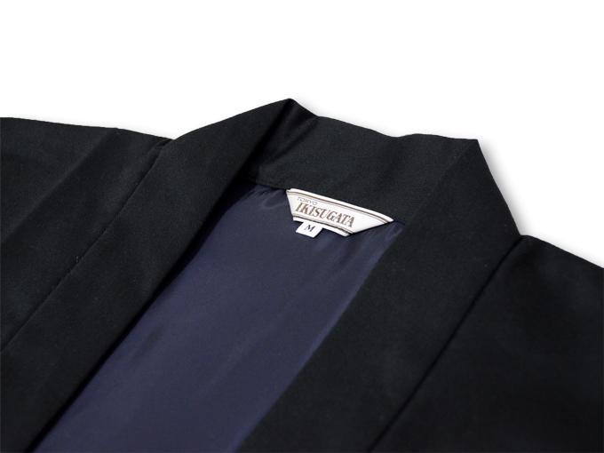 作務衣用羽織(綾織)黒-ブラック 衿部分