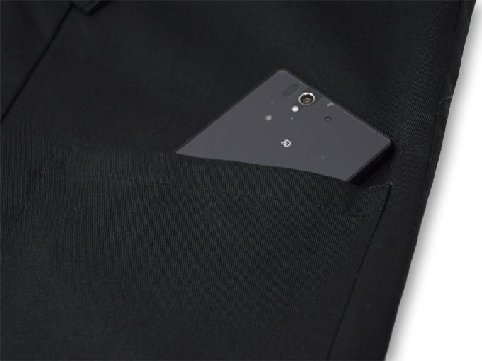 作務衣用羽織(綾織)黒-ブラック ポケット部分