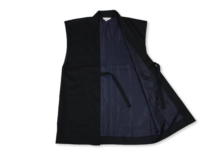 作務衣用羽織(綾織)黒-ブラック 内側部分