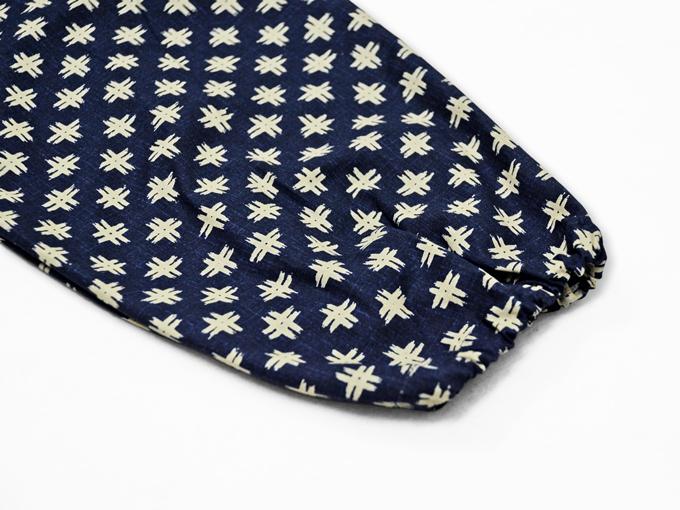 女性総柄作務衣 井桁(いげた)ズボンポケット