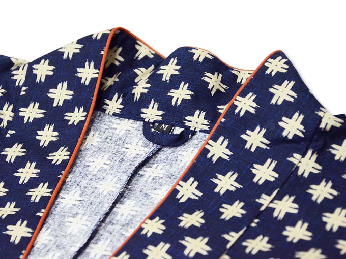 女性総柄作務衣 井桁(いげた)衿部分