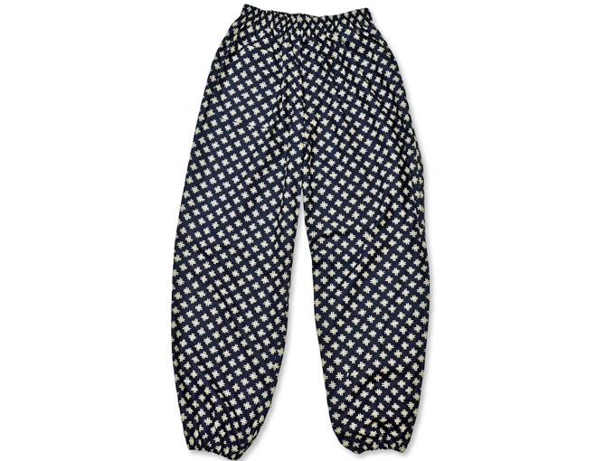 女性総柄作務衣 井桁(いげた)ズボン