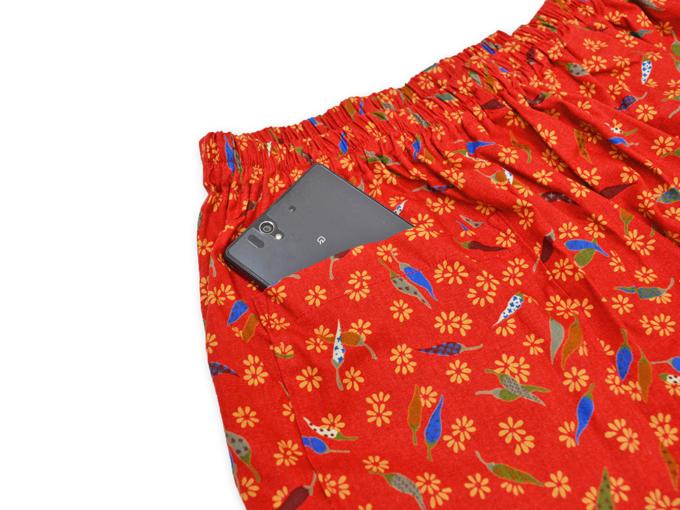 女性総柄作務衣 とうがらし(トウガラシ)ズボンポケット