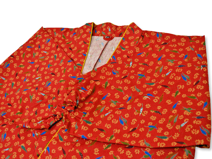女性総柄作務衣 とうがらし(トウガラシ)上着3