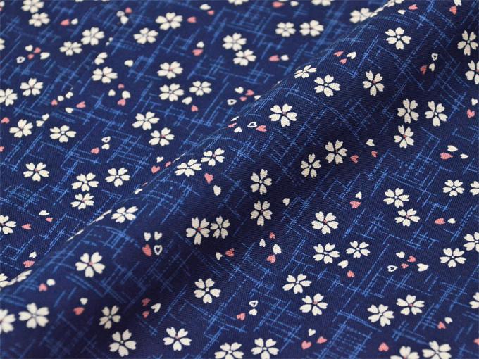 女性総柄作務衣 絣桜(かすりざくら)紺生地拡大